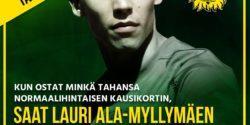 Kausikortin ostajille Lauri Ala-Myllymäen pelipaita nimikirjoituksella