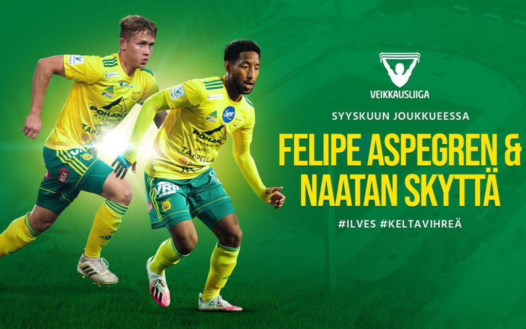 Naatan Skyttä ja Felipe Aspegren Veikkausliigan syyskuun joukkueeseen!